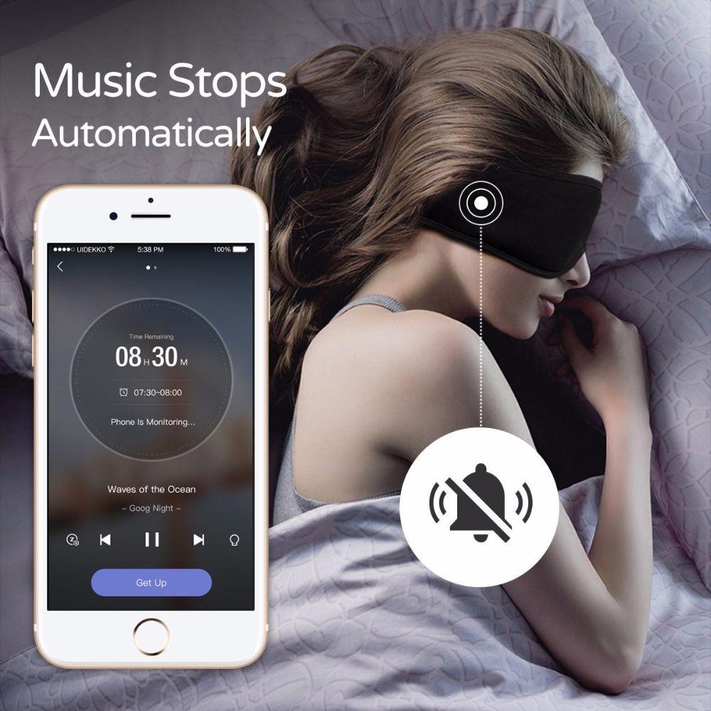 Écouteurs endormis, masque oculaire lavable confortable avec blocage du son/suppression du bruit écouteurs télécommande App intelligente