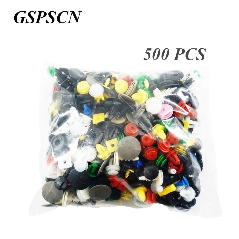 GSPSCN 500PCS Car Mixed Universal Door Trim Panel Clip Fasteners Auto Bumper Rivet Retainer Push Engine Fender Fastener Clip