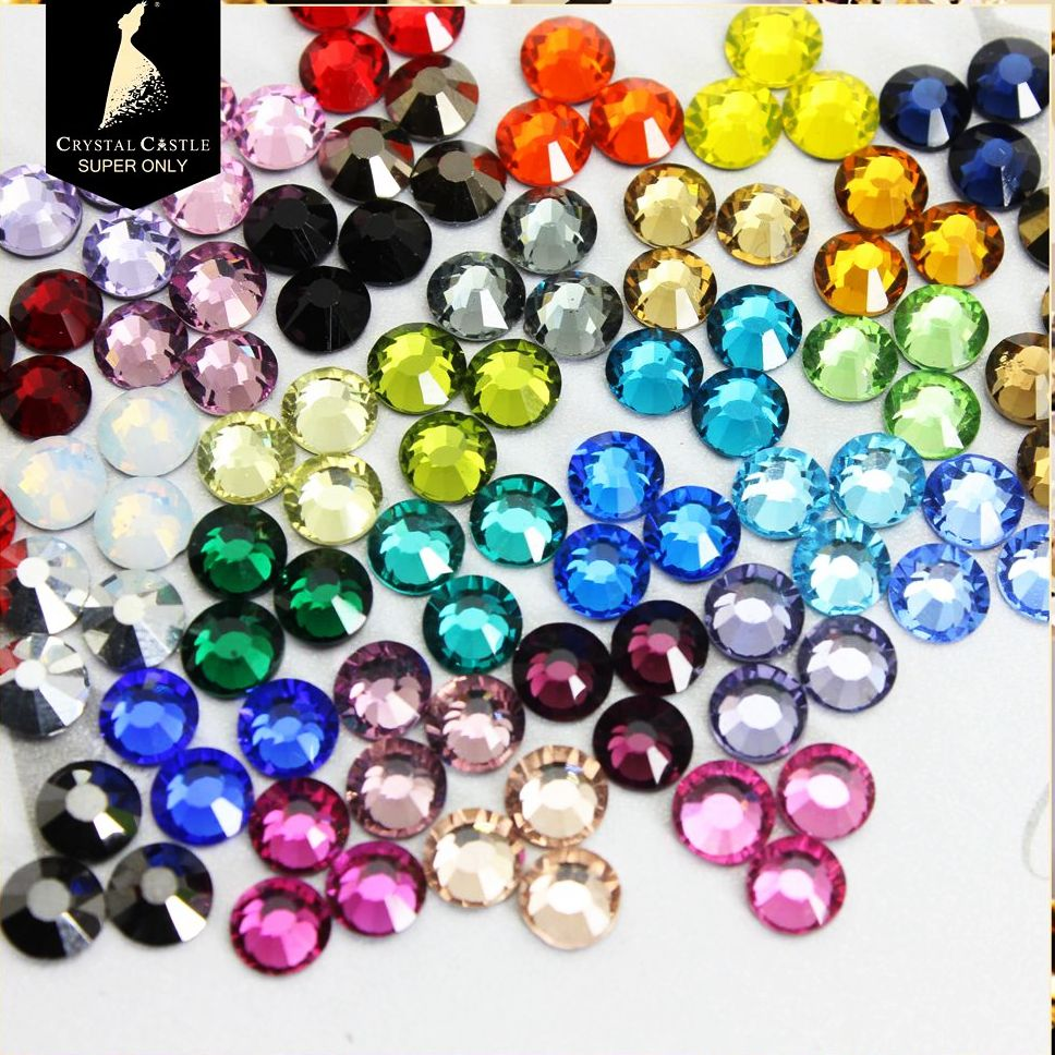 Cristal château Hotfix Strass 5A Mix 4 couleur cristal et pierre de luxe gemmes plat dos verre Hot Fix Strass pour vêtements de gymnastique