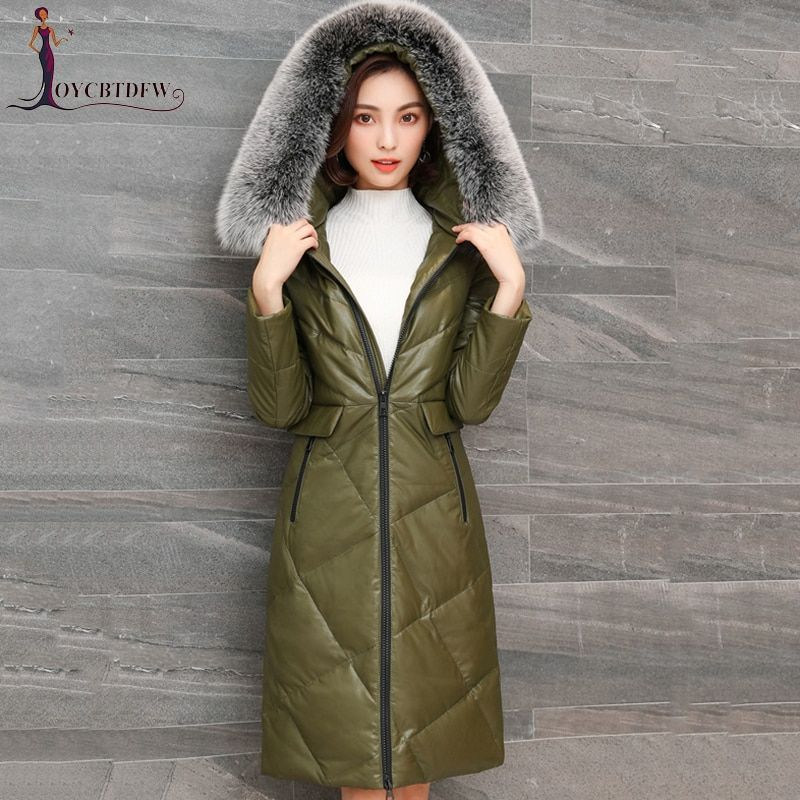 2018 Winter Oberbekleidung Frauen Große Größe Leder Unten Jacke Mantel Weibliche Mit Kapuze parkas Fox Pelz Kragen Warme Schafe Haut Jacken tops