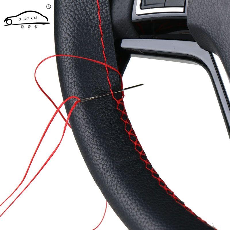 DIY Volant Couvre/Doux Fiber De tresse sur le volant de Voiture En Cuir Avec Aiguille et Du Fil intérieur accessoires