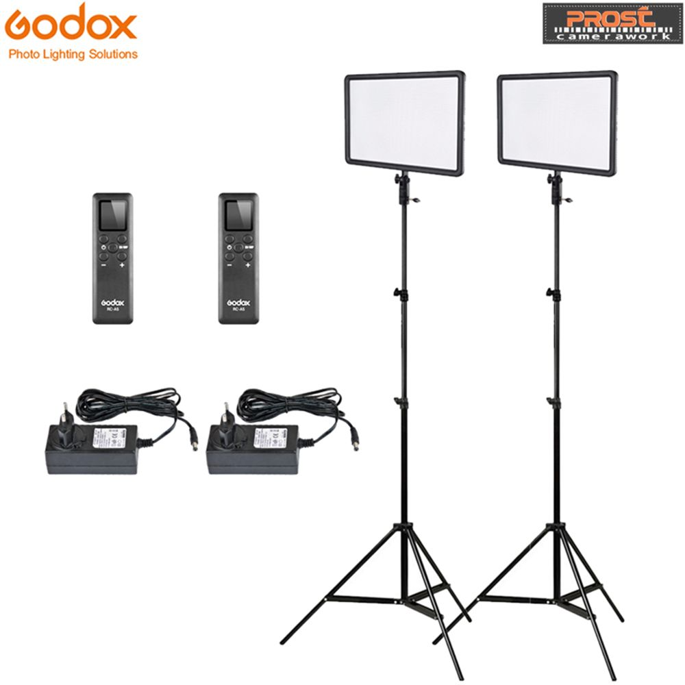 Godox 2pcs LEDP260C Ultra-thin 30W 3300-5600k LED Video Light Panel Lamp with 2pcs 2m Light Stand for Video Studio Lights