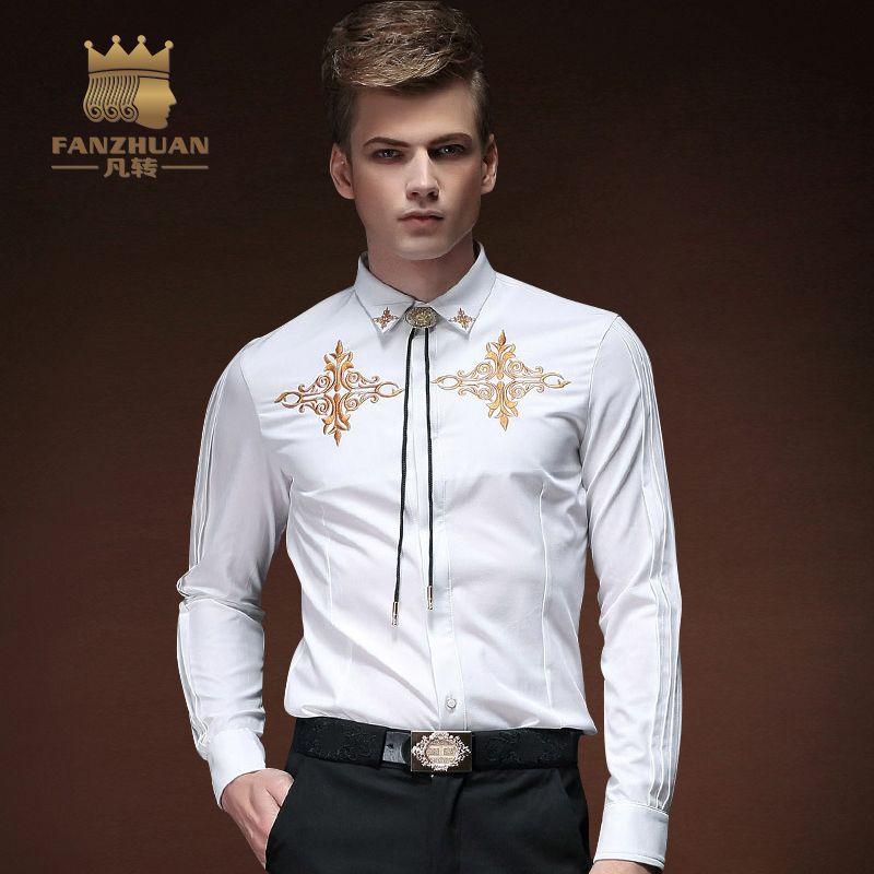 FANZHUAN 2017 New Quality Men's Casual Shirts Luxury Wedding Dress Shirt Groom marry  White Long Sleeved Shirt Men Shirt Dress