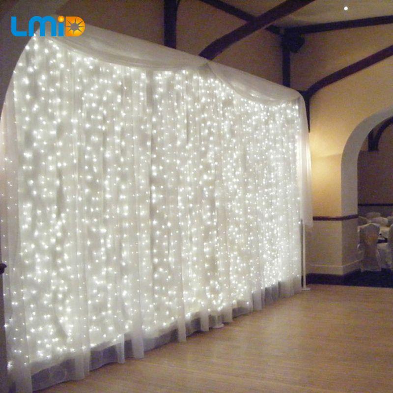 LMID 6 M * 3 M LED Cortina de Hadas de la Secuencia de Vacaciones de Navidad 600 Led de Iluminación AC110V-220V 8 Modos Que Destellan Luz Hotel de Decoración Comercial