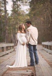 Femmes Blanc Rouge Jupe De Maternité Photographie Props Élégant Vêtements de Grossesse Robes De Maternité Pour Les femmes enceintes Séance Photo Vêtements