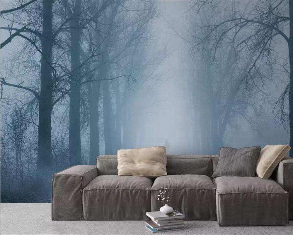 Beibehang Nach foto tapete Nordic stil natur landschaft kiefer wald cloud TV hintergrund wand tapete für wände 3 d behang