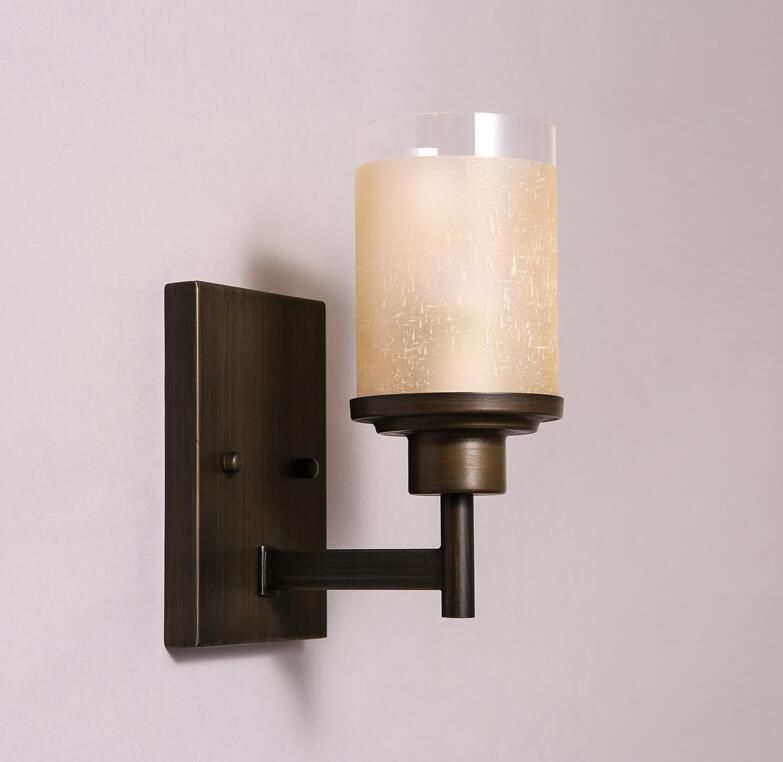 American Country Stairs Aisle Iron Wall Lamp European Industrial Retro Bedroom Bedside Glass Lampshade Wall Light Free Shipping