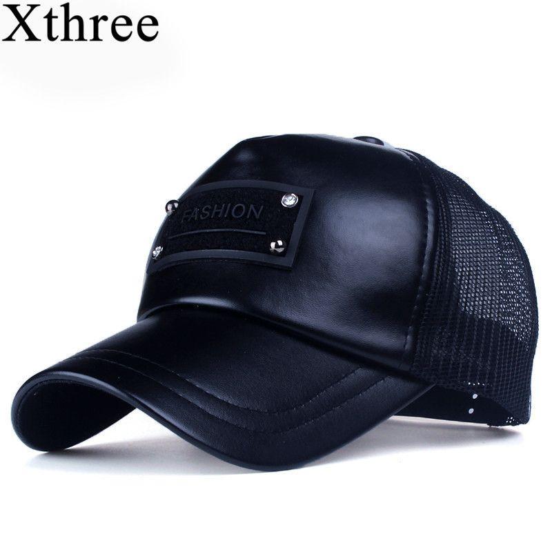 Xthree 5 panels mode herren kunstleder baseballmütze frauen sommer mesh cap hysteresenhut für mädchen knochen gorras