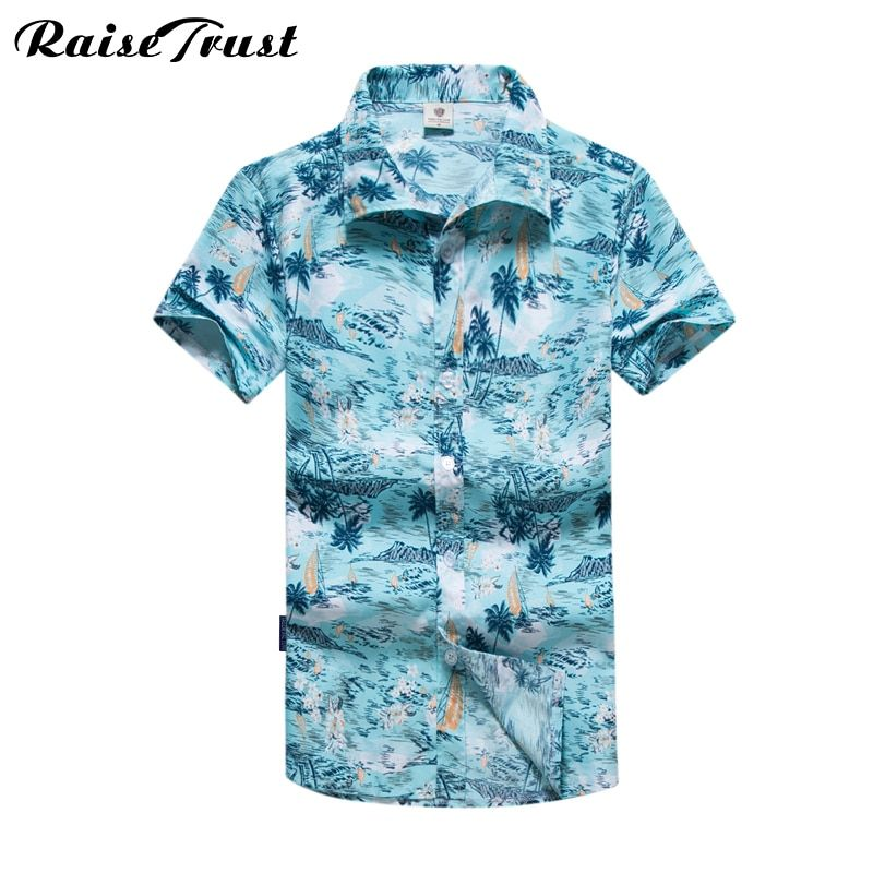 2017 New Style Men's Hawaiian Shirts Summer Fashion Short Sleeve Casual Male Shirt Big Size M to 5XL Hot Selling Brand Clothing