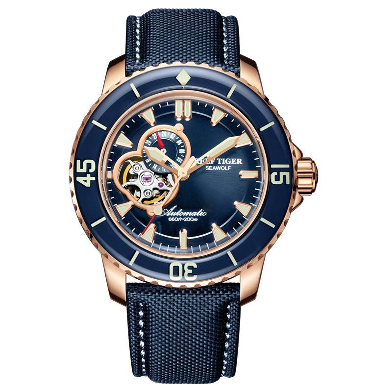 Riff Tiger/RT Luxus Dive Uhren für Männer Automatische Rose Gold-Ton Blau Uhren Nylon Strap RGA3039