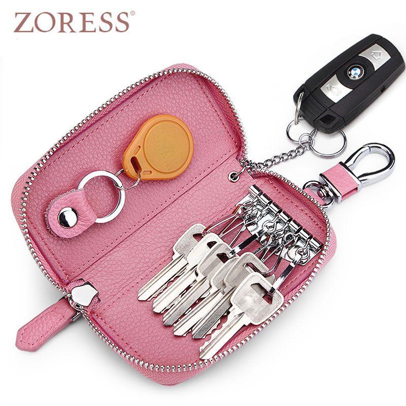 Zoress Пояса из натуральной кожи бумажник ключ автомобильный держатель брелок Чехлы для мангала молния ключ сумка Для женщин ключ чехол ключн...