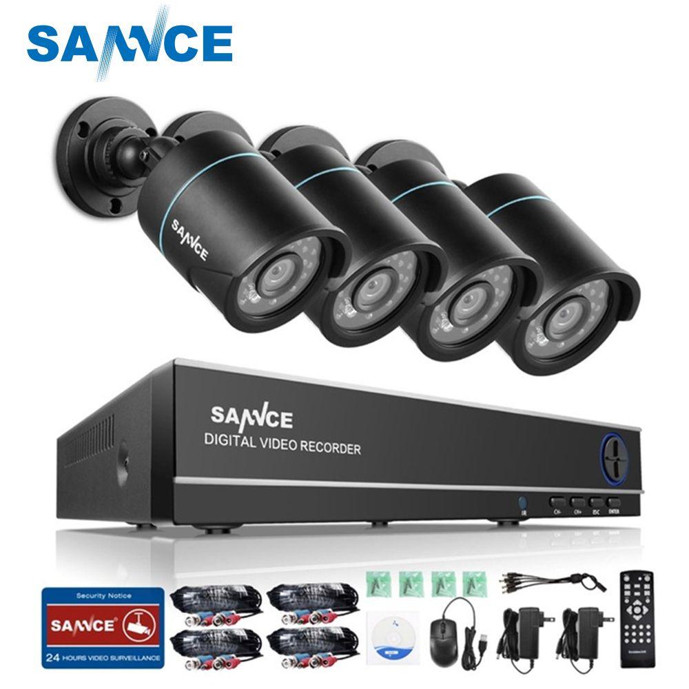 SANNCE HD 8CH CCTV Système 1080 p HDMI DVR 720 p CCTV Caméra de Sécurité 4 pcs 1280TVL IR caméra Extérieure vidéo Surveillance kit