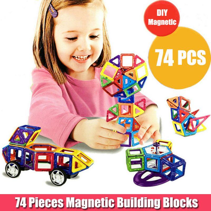 74pcs Ferris Wheels And Car Set Kids Magnetic Block Toy For Children Construction Building Toy Set Kids DIY Educational Toy