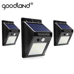 Goodland LED Solar Light Outdoor Solar Lamp with PIR Motion Sensor Solar Powered Waterproof Wall for Garden Yard Path Decoration