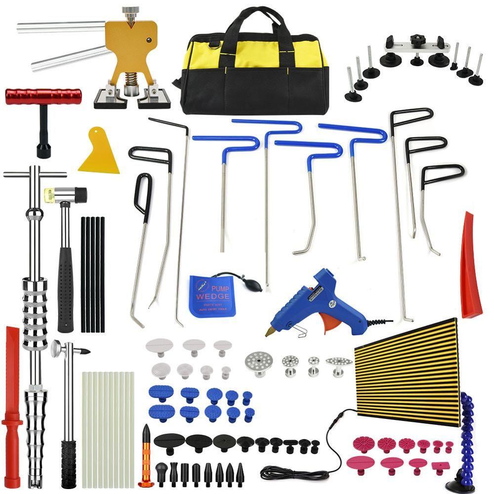 PDR Tools Set Paintless Dent Repair Car Dent Removal Hand Tool Set LED Reflector Board Hot Melt Glue Sticks