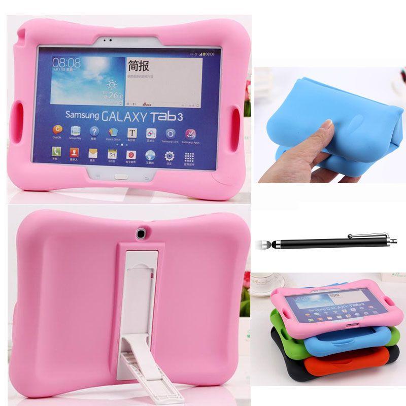 Kid Safe Béquille Couverture En Caoutchouc Souple Pour Samsung Galaxy Tab 3 10.1