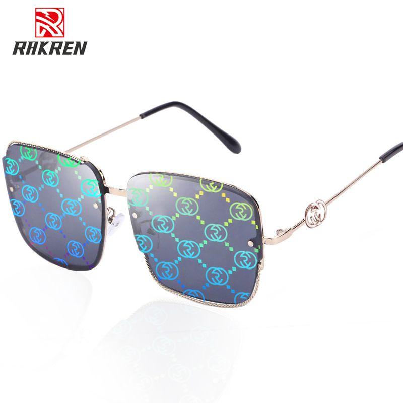 Oversized Square Sunglasses Women Design Brand Sunglasses For Women Metal Farme Gradient Shades Eyewear Ladies Goggles UV400