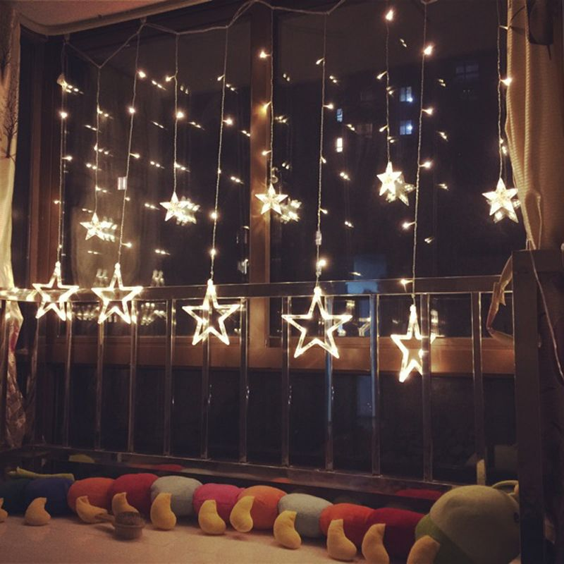 3M/2.5M led twinkle christmas lights fairy icicle flash garland star curtain light party holiday store xmas wedding decoration