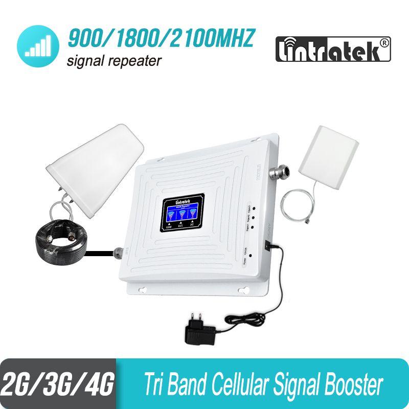 Lintratek Globale 900 1800 2100 2G 3G 4G Tri Band Handy-Signal-Repeater GSM 900 W-CDMA 2100 DCS 1800 B3 Booster Verstärker #53