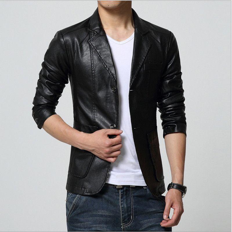 Plus la Taille M-7XL Printemps Automne Hommes À Laver PU Cuir Moto Vestes pour Hommes Manteau Couleur Kaki/Brun/Noir /blanc/Rouge