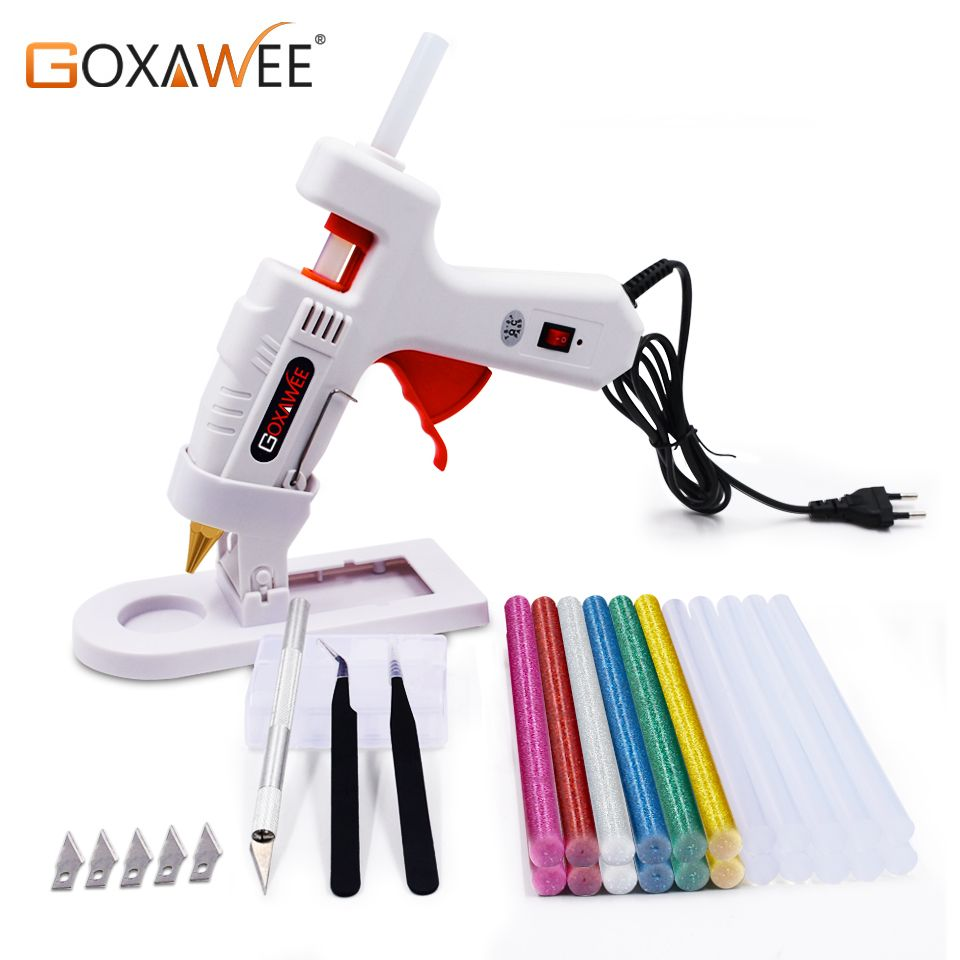 GOXAWEE 34pcs Hot Melt Glue Gun Set Mini Electric Professional DIY High Temp Heat Melt Repair Tool With Hot Melt Glue Sticks
