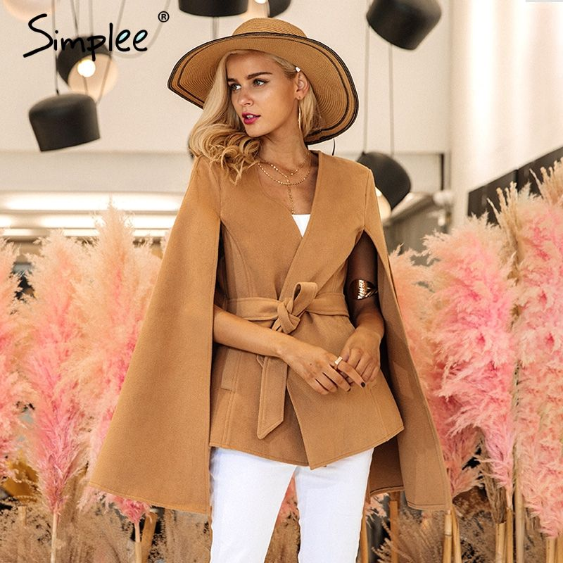Simplee Elegant v neck winter cape coat Women long sleeve belt outerwear coat 2017 Autumn casual split streetwear cloak overcoat