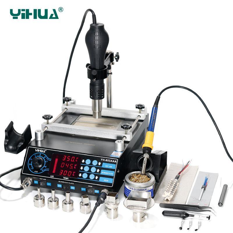 3 Funktionen in1 Bga Überarbeitungsstation Yihua 853AAA 650 Watt SMD Heißluft-gewehr + 60 Watt Lötkolben + 500 Watt Vorwärmen Station110/220 V EU/US