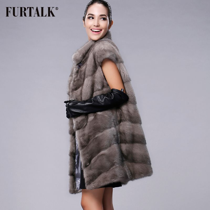 FURTALK 100% Real Mink Fur Vest Long Women Winter Fur Vest High Quality Mink Fur Coat