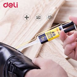 Deli 4ml quality 2 minutes curing super liquid AB glue for office home supply glass metal rubber waterproof strong adhesive glue