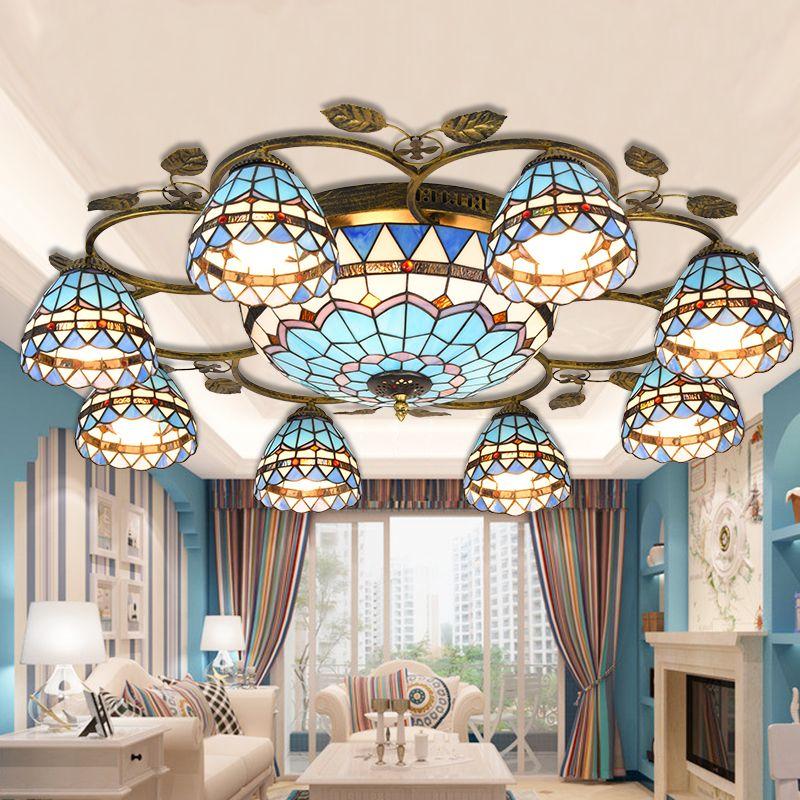 Mittelmeer Tiffany Barock Glasmalerei Ausgesetzt Leuchte deckenleuchten Parlor Esszimmer hängen beleuchtung E27