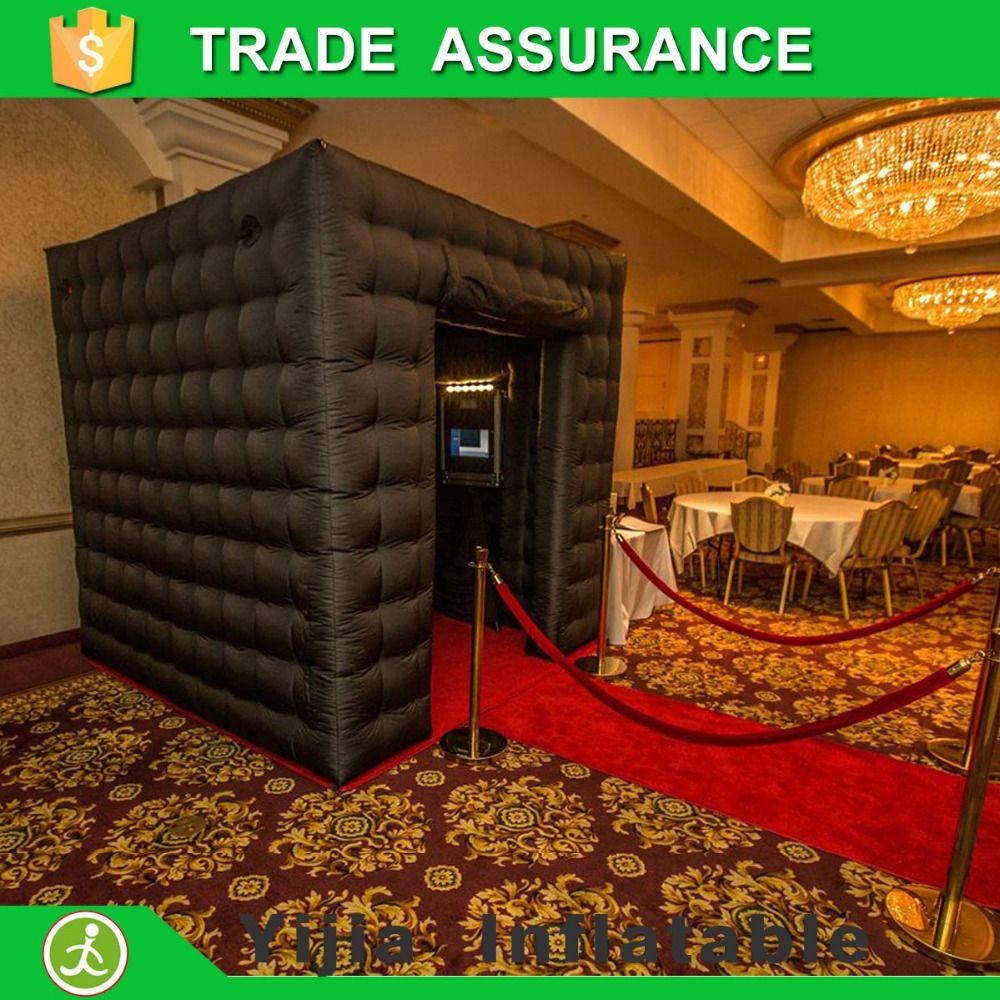 Kostenloser versand oxford material aufblasbare kabine schwarz photo booth mit 2 türen
