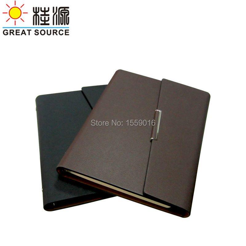 Porte-documents Cleaer sac à stylo autocollants de couleur et règle souple A5 cuir couverture pliante reliure à anneaux pour planificateur A5