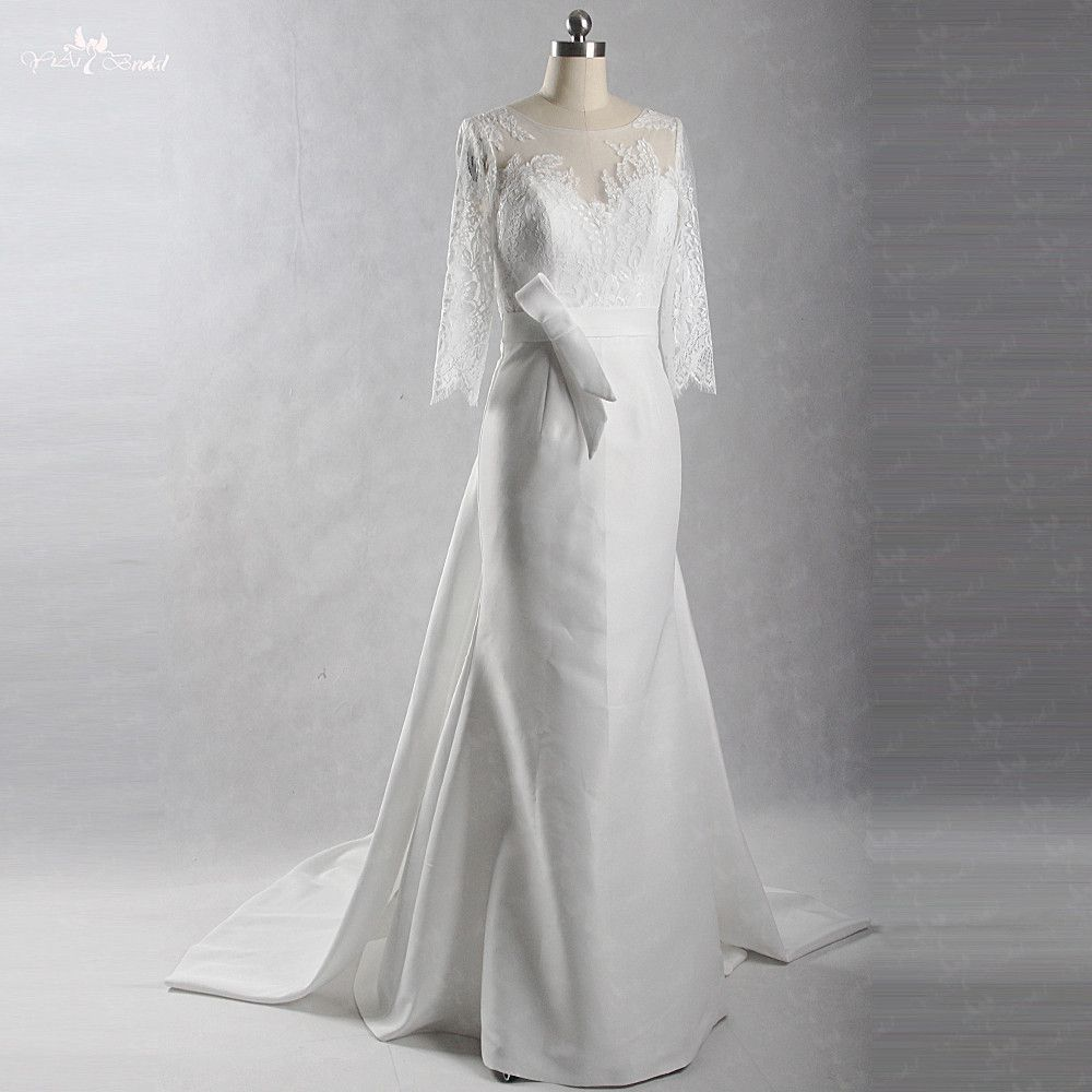 RSW400 Satin Brautkleid 3/4 Ärmeln Langes Kleid Elegante
