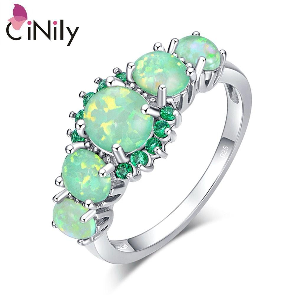 CiNily Créé Vert Opale de Feu Cristal Argent Plaqué Anneau En Gros Au Détail Vente Chaude pour Femmes Bijoux Anneau Taille 5-12 OJ7552