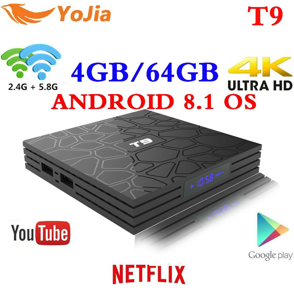 Date 4 gb 64 gb Android 8.1 TV Box T9 RK3328 Quad Core 4g/32g USB 3.0 smart 4 k Set Top Box En Option 2.4g/5g Double WIFI Bluetooth