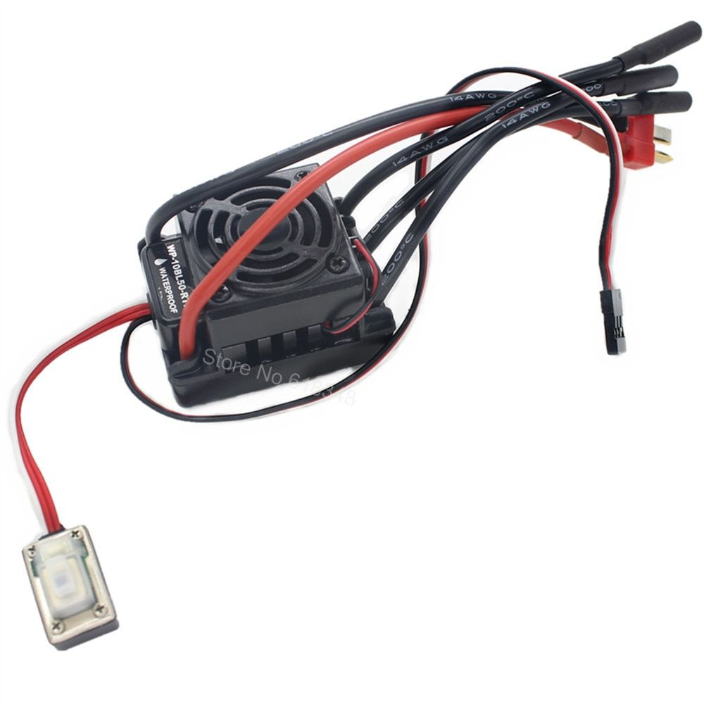 Waterproof 50A Brushless ESC Speed Controller HSP 37017 (03307) WP-10BL50-RTR Programmable Fit 2-3S Lipo Pack for 1/10 RC Car