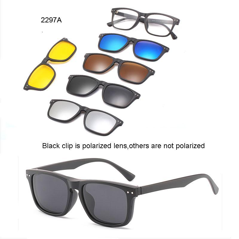 5 lenes Magnet Sunglasses Clip Mirrored Clip on Sunglasses clip on glasses Men Polarized Custom Prescription Myopia