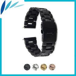 Stainless Steel Watch Band 24 Mm untuk Sony Smartwatch 2 SW2 Keselamatan Gesper Tali Loop Sabuk Gelang Hitam Rose Gold perak + Alat