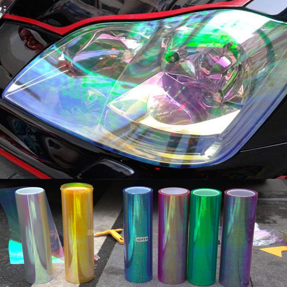 120*30 cm brillant caméléon Auto voiture style phares feux arrière translucide Film lumières tourné changement couleur voiture Film autocollants