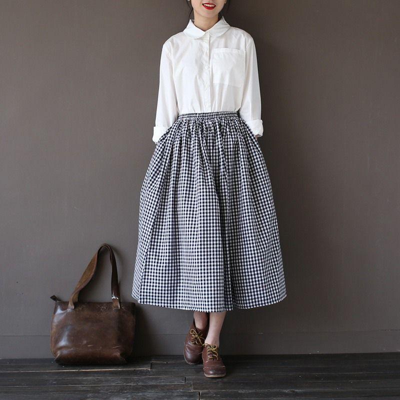 Filles dame mode Vintage lin coton jupes décontracté Plaid longues jupes un lin élastique lâche coton Mori fille Kawaii jupes