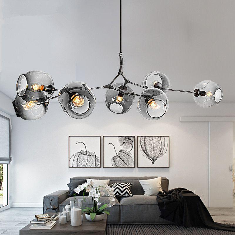Modern Chandeliers Lighting Branching Bubble Ball Pendant Lamp Gold Metal Hanging Lamp Living Room Dinning Room Light Fixtures