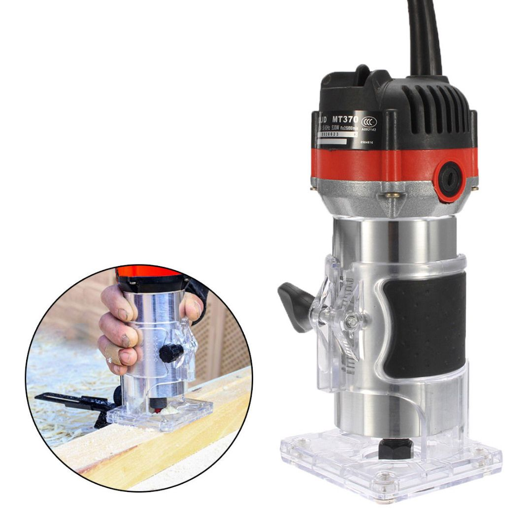 220V 530W Electric Hand Trimmer Wood Edge 1/4'' Wood Router Trimmer Router Tools for Woodworking Engraving Drilling Tools