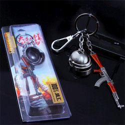 Game PUBG frying Helmet 98K AWM Playerunknown's Battlegrounds Cosplay Props Alloy Armor Model Key Chain Keychain