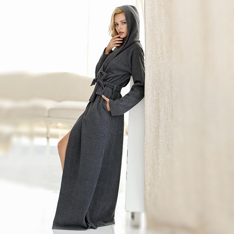Microfiber Fleece Bathrobe Hooded Ultra Long Robes Loungewear female & men Sleepwear Plus Size Nightgowns Couples dressing gown