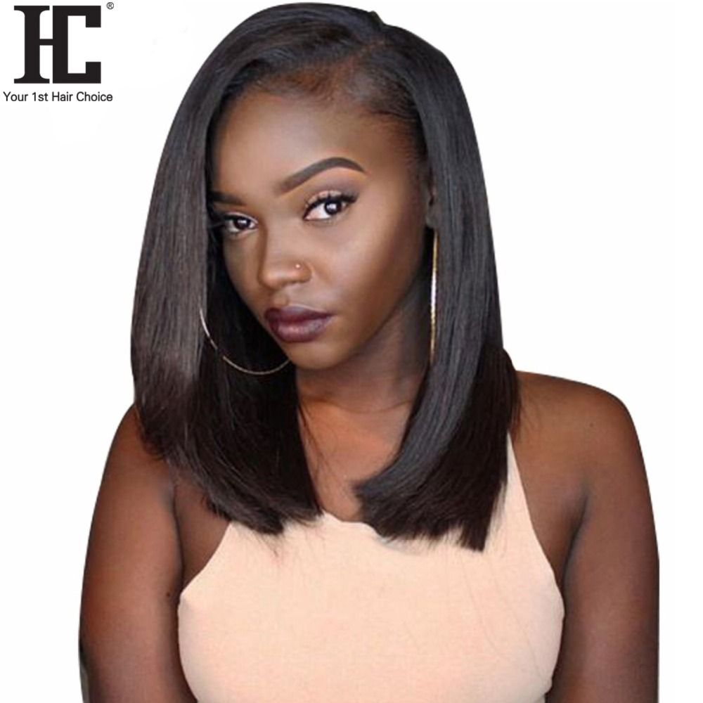 Glueless Bob Wig Brazilian Straight Short Lace Front Wigs For Black Women Pre Plucked With Baby Hair Remy Human Hair Wig 150% HC