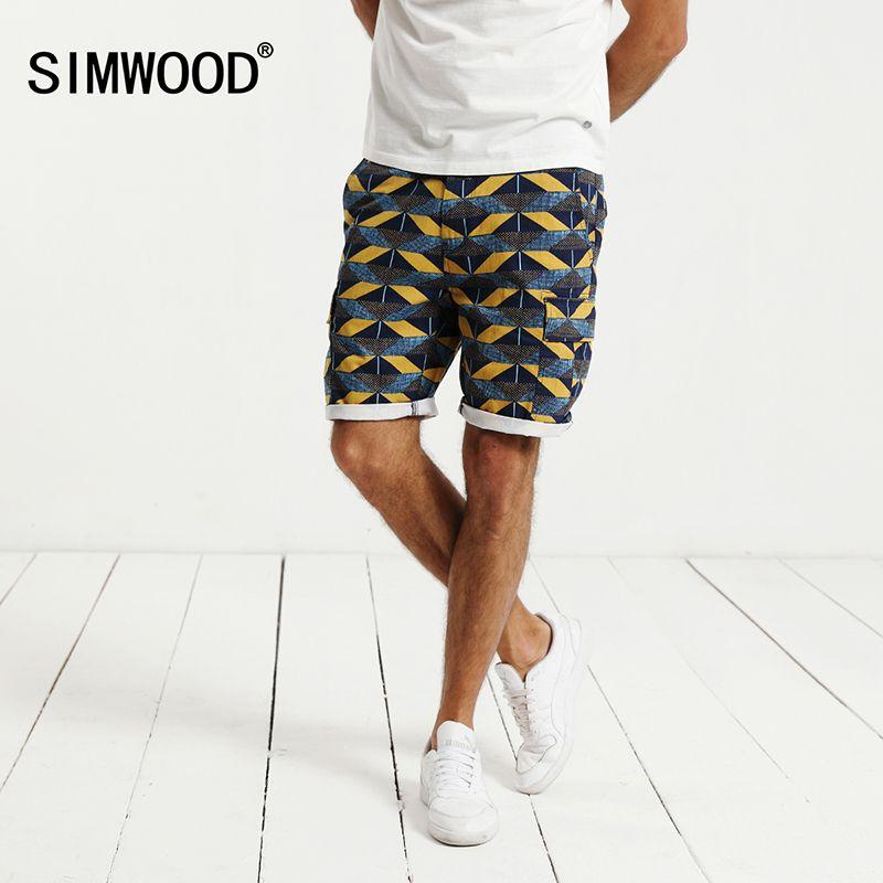 Simwood 2018 новые летние Рубашки домашние Для мужчин 100% натуральный хлопок брендовая одежда брюки-карго печати Slim Fit плюс Размеры xd017026