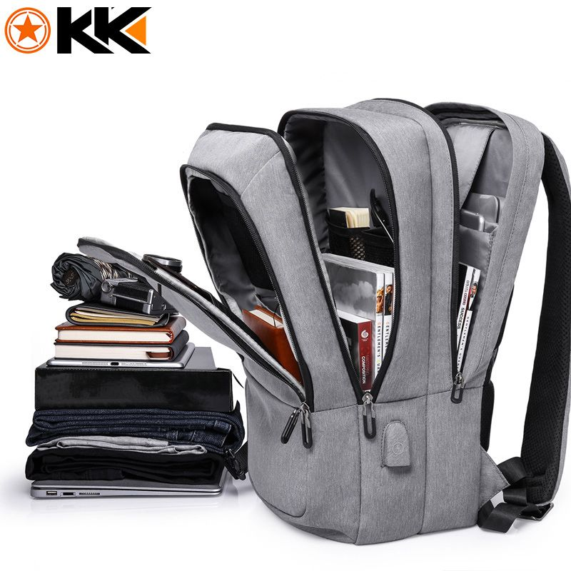 KAKA mochila hombre Casual Polyester Men Backpack Waterproof USB Charging Travel Backpack Large Capacity 17.3