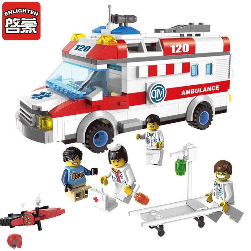 Enlighten 1118 Building Blocks Ambulance <font><b>Model</b></font> Blocks 328+pcs DIY Bricks Compatible Legoa City Building Blocks Toys For Children