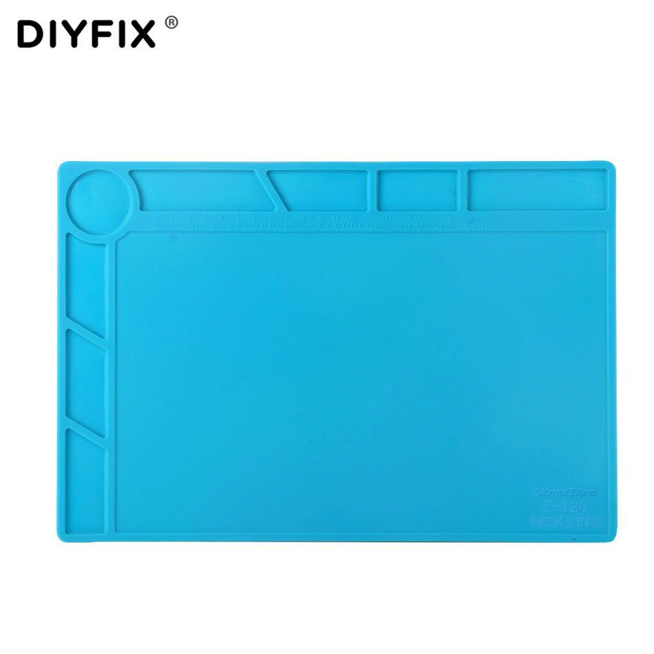 DIYFIX 34x23 cm Isolation thermique Silicone Pad Tapis de Bureau Plate-Forme de Maintenance BGA À Souder Station De Réparation avec 20 cm échelle Règle