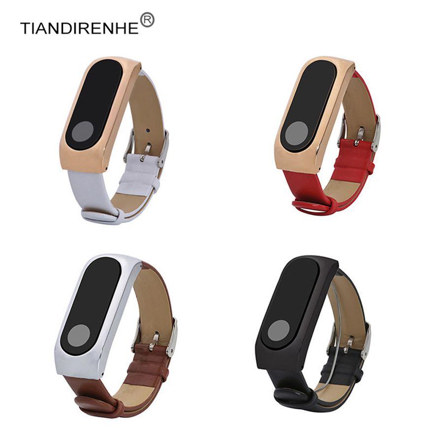 Original für Xiaomi Mi Band 2 Leder Handgelenk Metall Shell Leder Band Miband 2 Anti Verloren Armband für Miband 2 Tragbares Gerät